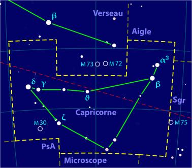Carte pour la constellation Capricorne Produite à l'aide du logiciel PP3 - Orthogaffe / Korrigan - Wikimedia Commons