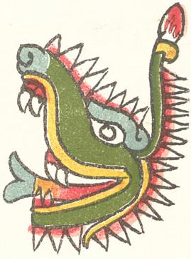 The Aztec day sign cipactli (crocodile).