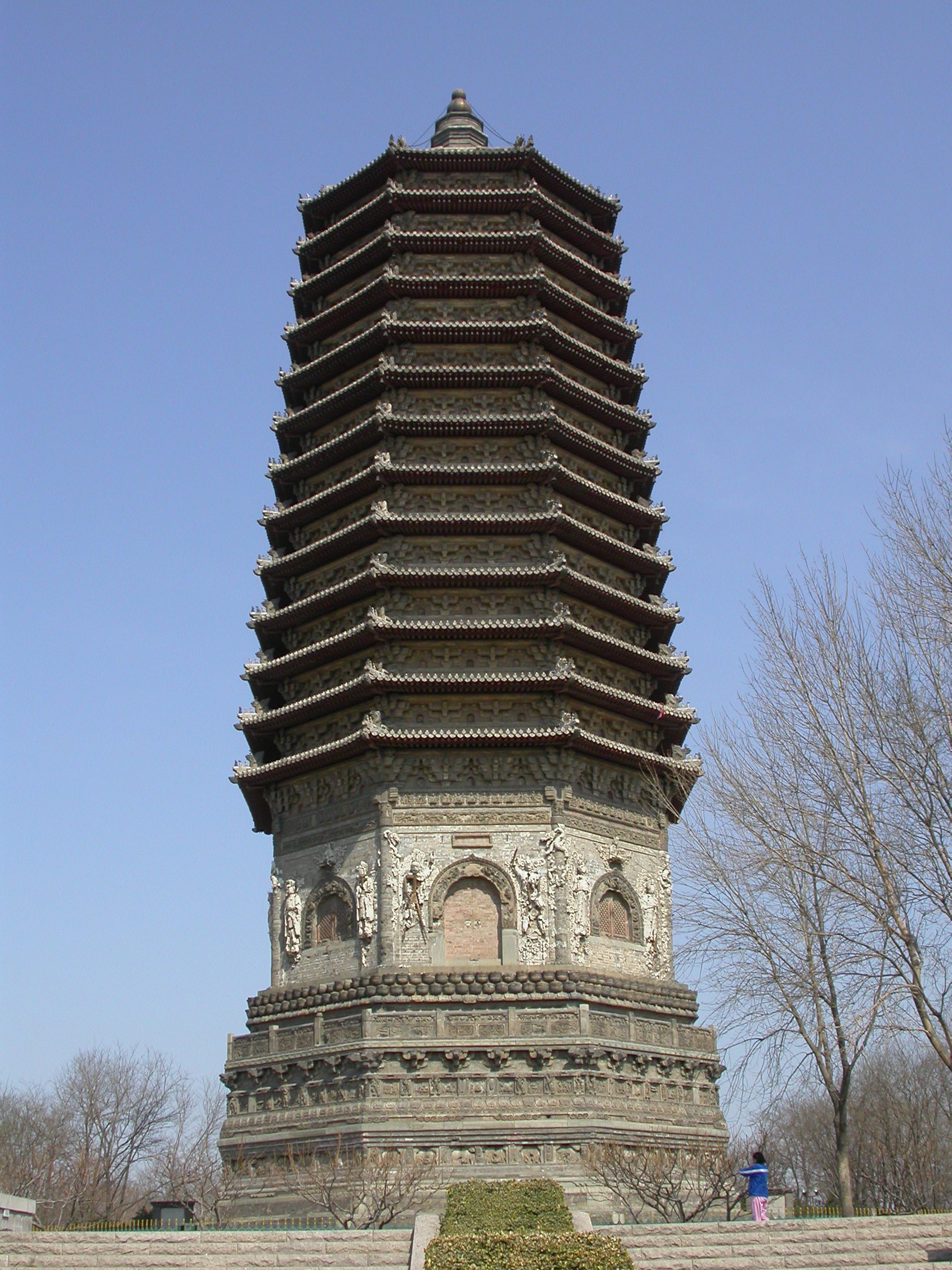 Cishou Temple Pagoda, built in 1576; the Chinese believed that building pagodas on certain sites according to geomantic principles brought about auspicious events; merchant-funding for such projects was needed by the late Ming period.