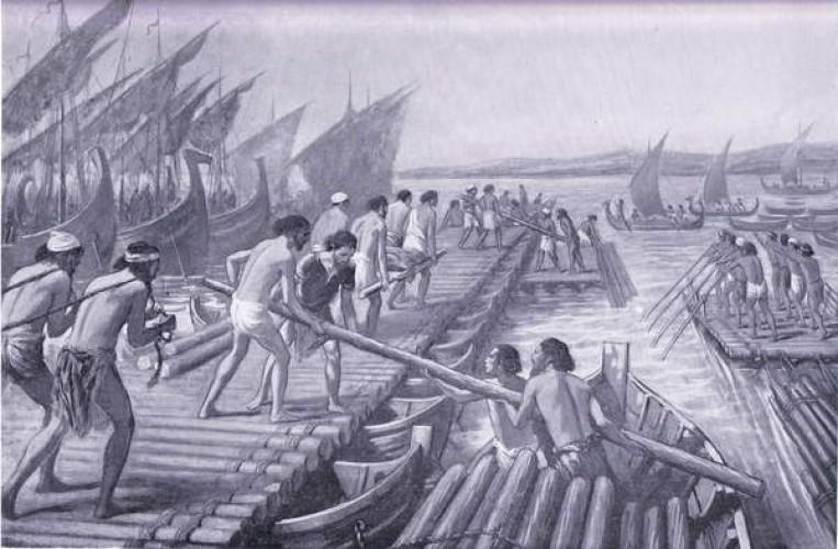 Construction of Xerxes Bridge of boats by Phoenician sailors