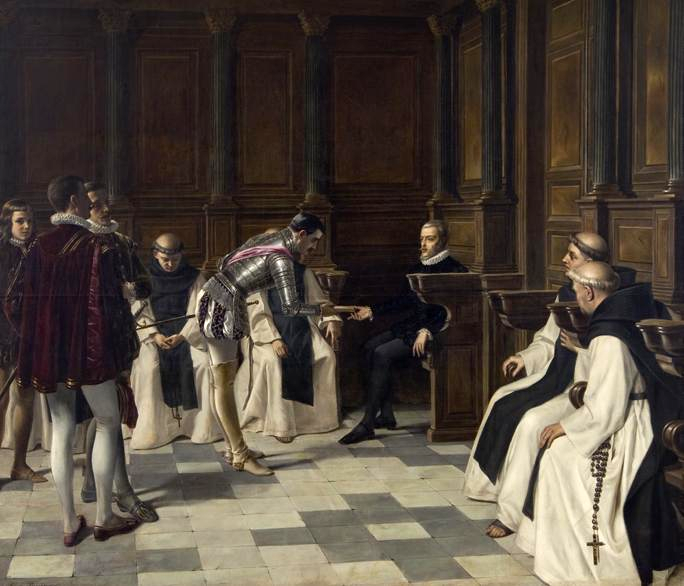 Archivo:Elena Brockmann - Philip II receiving news of the loss of the Armada - 1895.png