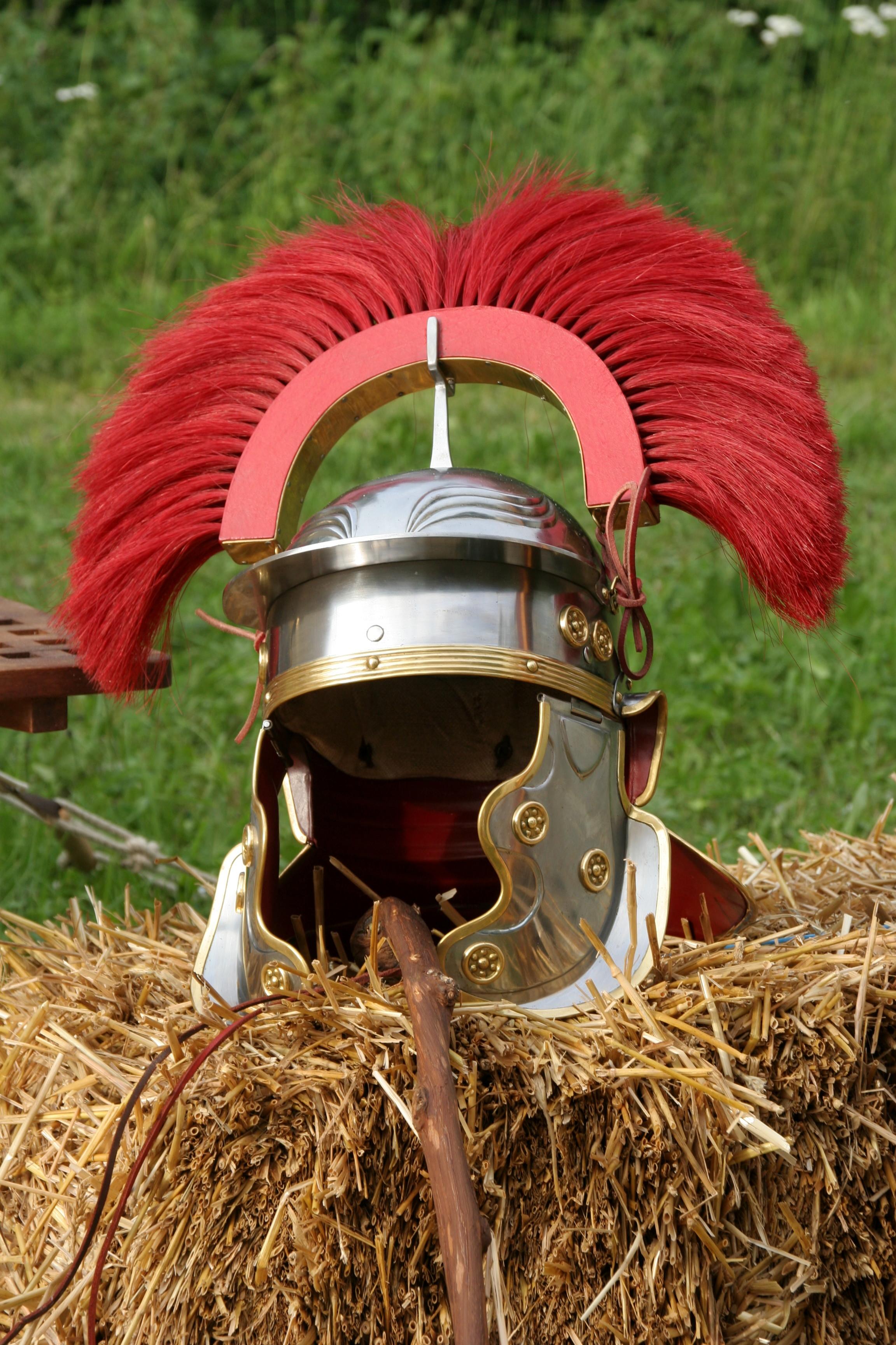 Details about  /Medieval Roman Centurion Helmet Armor Removable Red Crest Plume