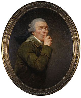 A painting of a man surprised or fearful with a finger pressed to his lips