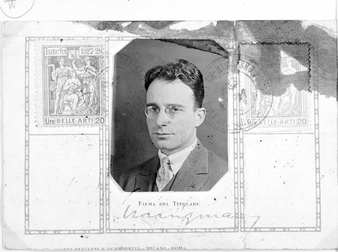 Kurt Seligmann, pictured in an Italian museum passport, 1927
