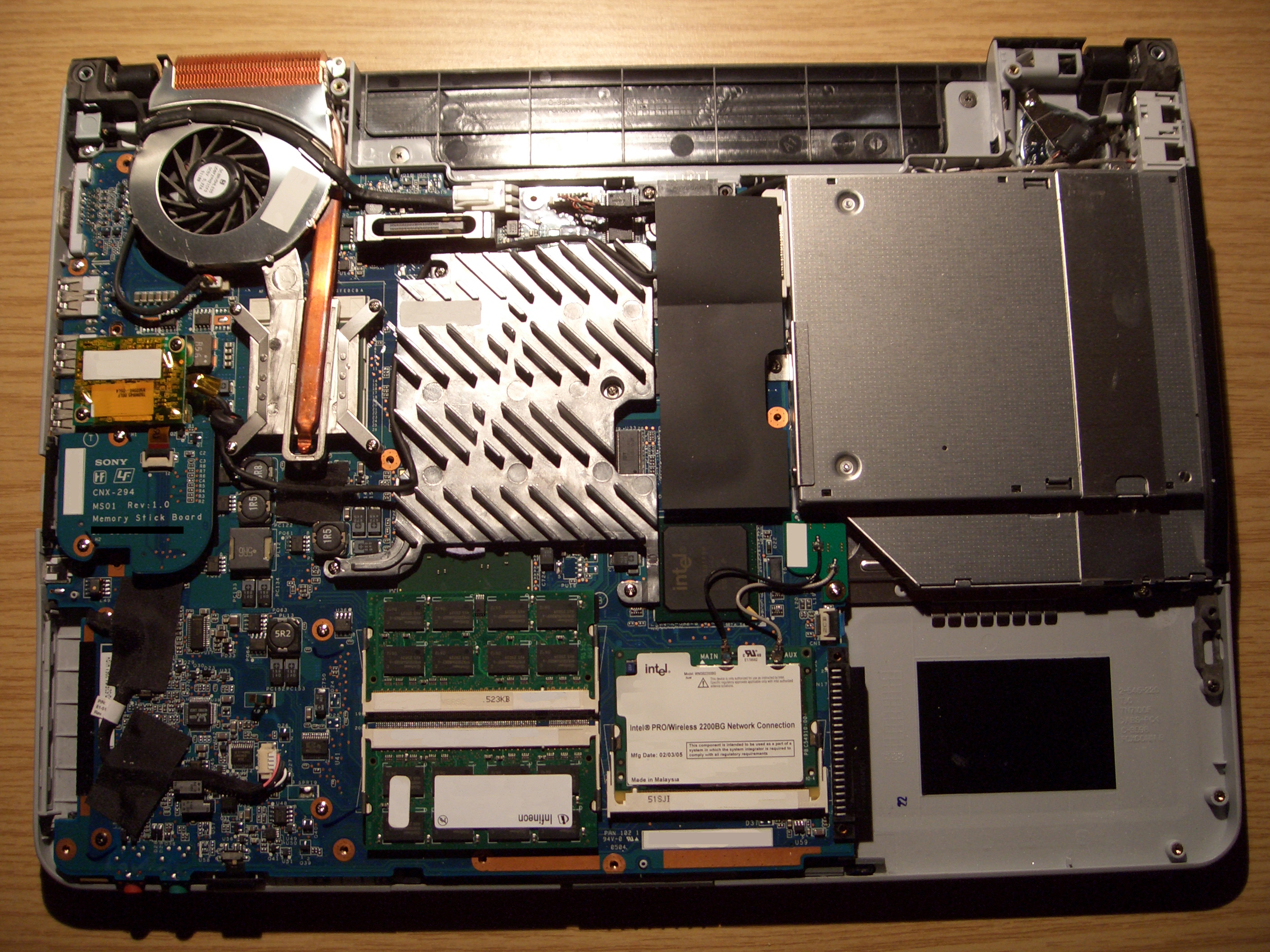 Diagram of the Inside of a Laptop Computer