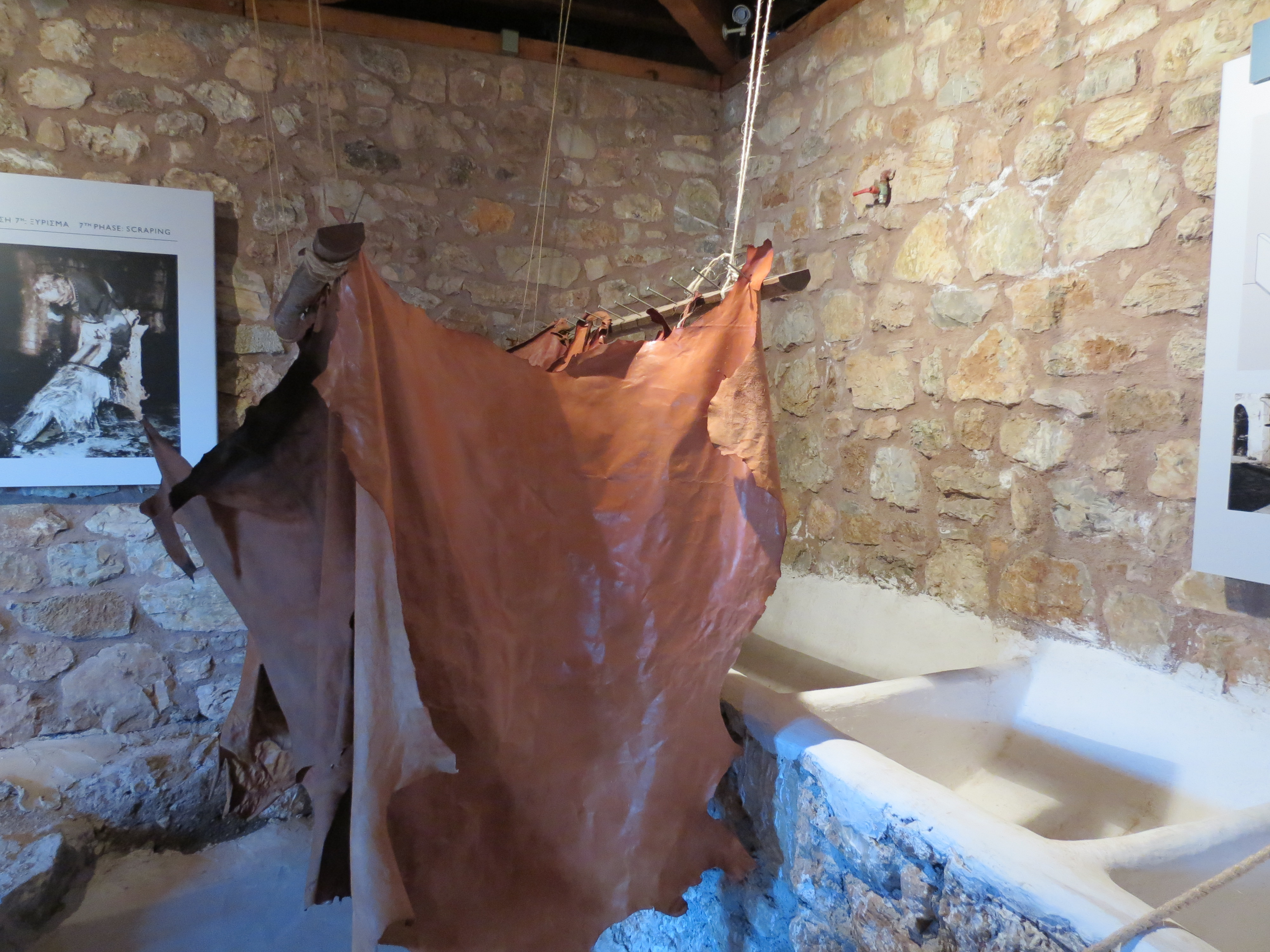 Leather tanning at dimitsana hydropower museum