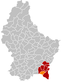 Map of Luxembourg with Mondorf-les-Bains highlighted in orange, and the canton in dark red