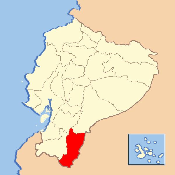 mapa de la provincia amazónica ecuatoriana de Zamora Chinchie