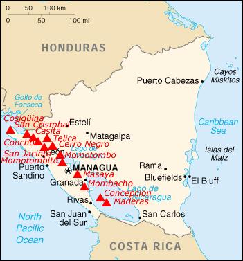 A Map Of Nicaraguas Volcanoes