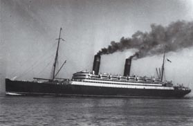 The Caronia under steam
