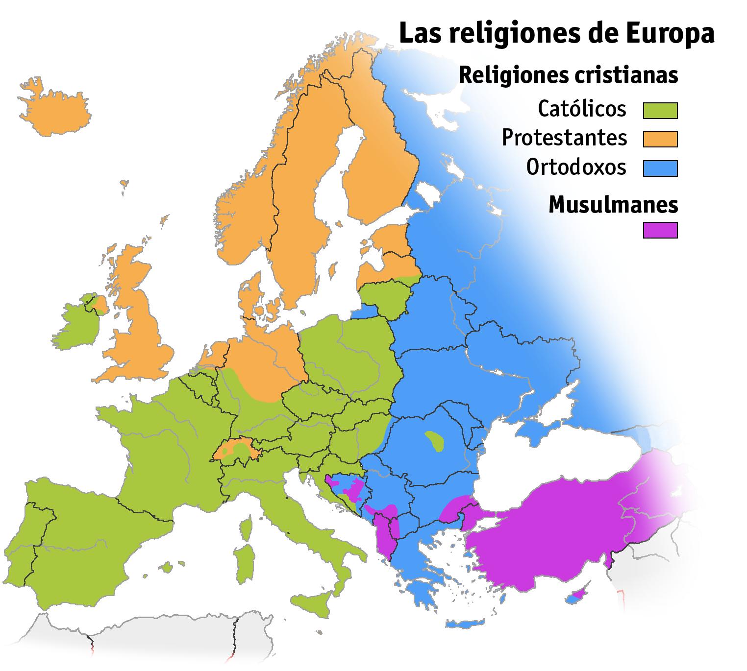 Mapa de las Religionesdel Continente Europeo