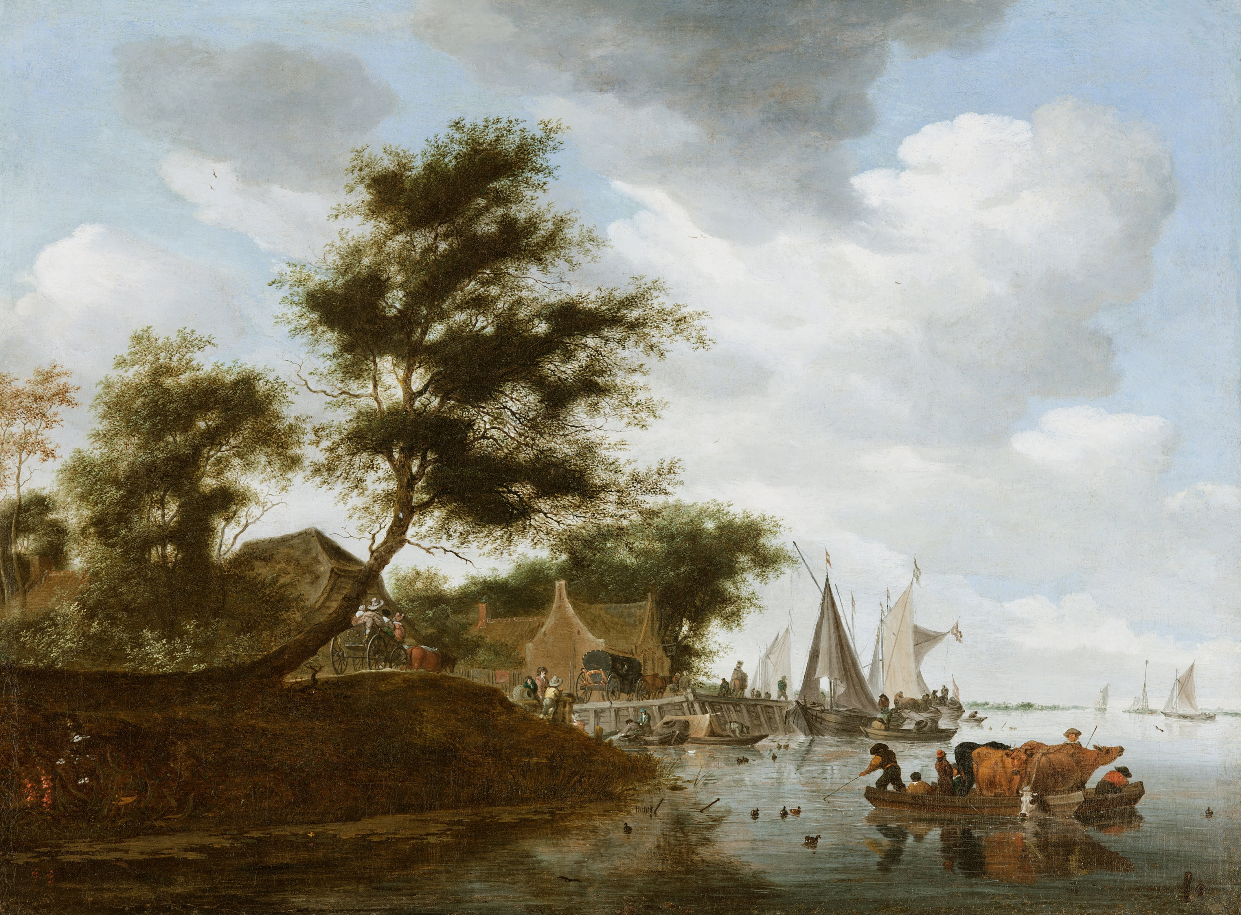 file salomon van ruysdael river landscape with ferry google art
