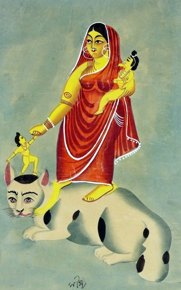 Painting of Shashti, the Indian goddess with her cat mount.