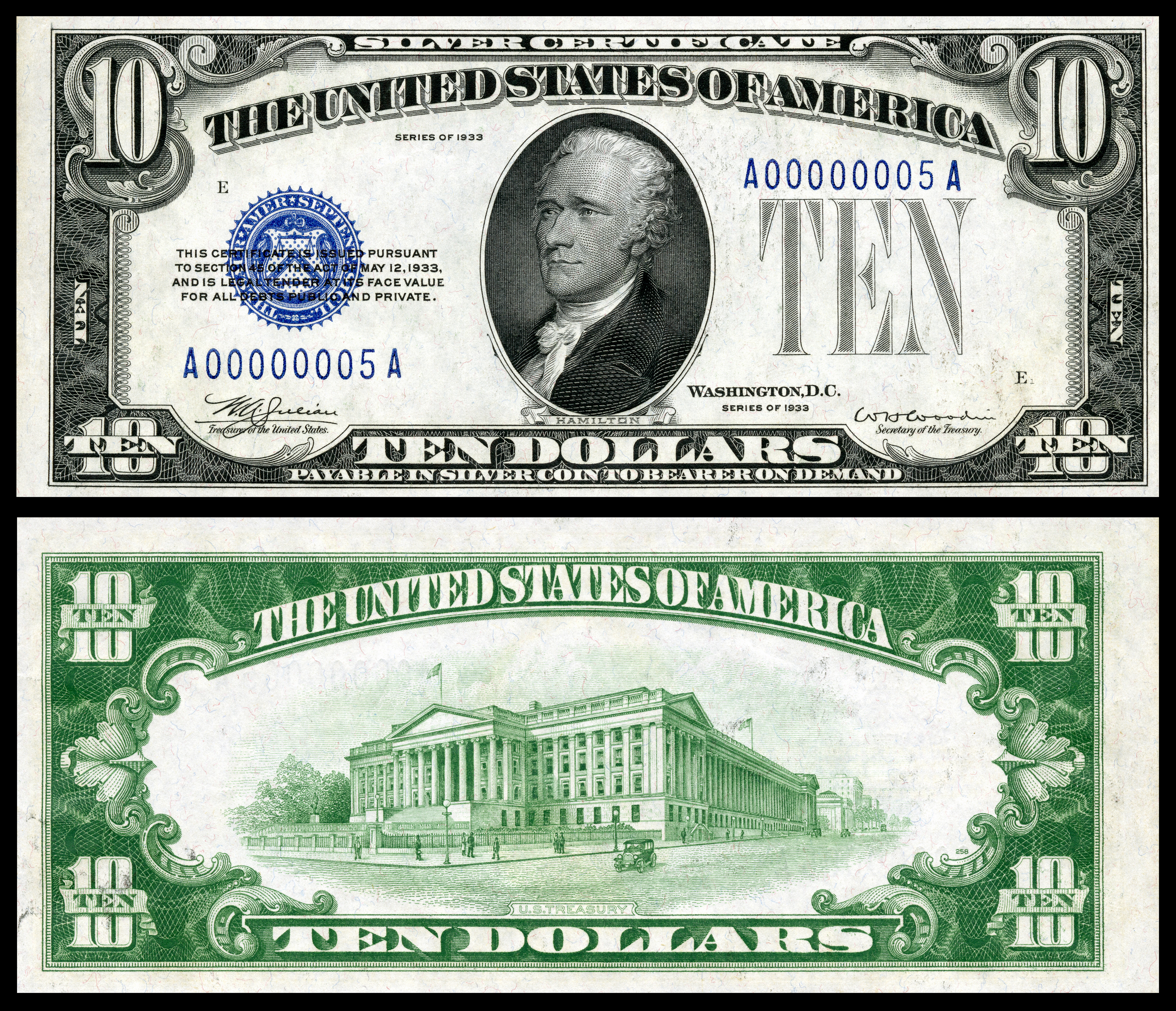 Silver certificate united states wikipedia 10 silver certificate series 1933 fr1700 depicting alexander hamilton 1betcityfo Images