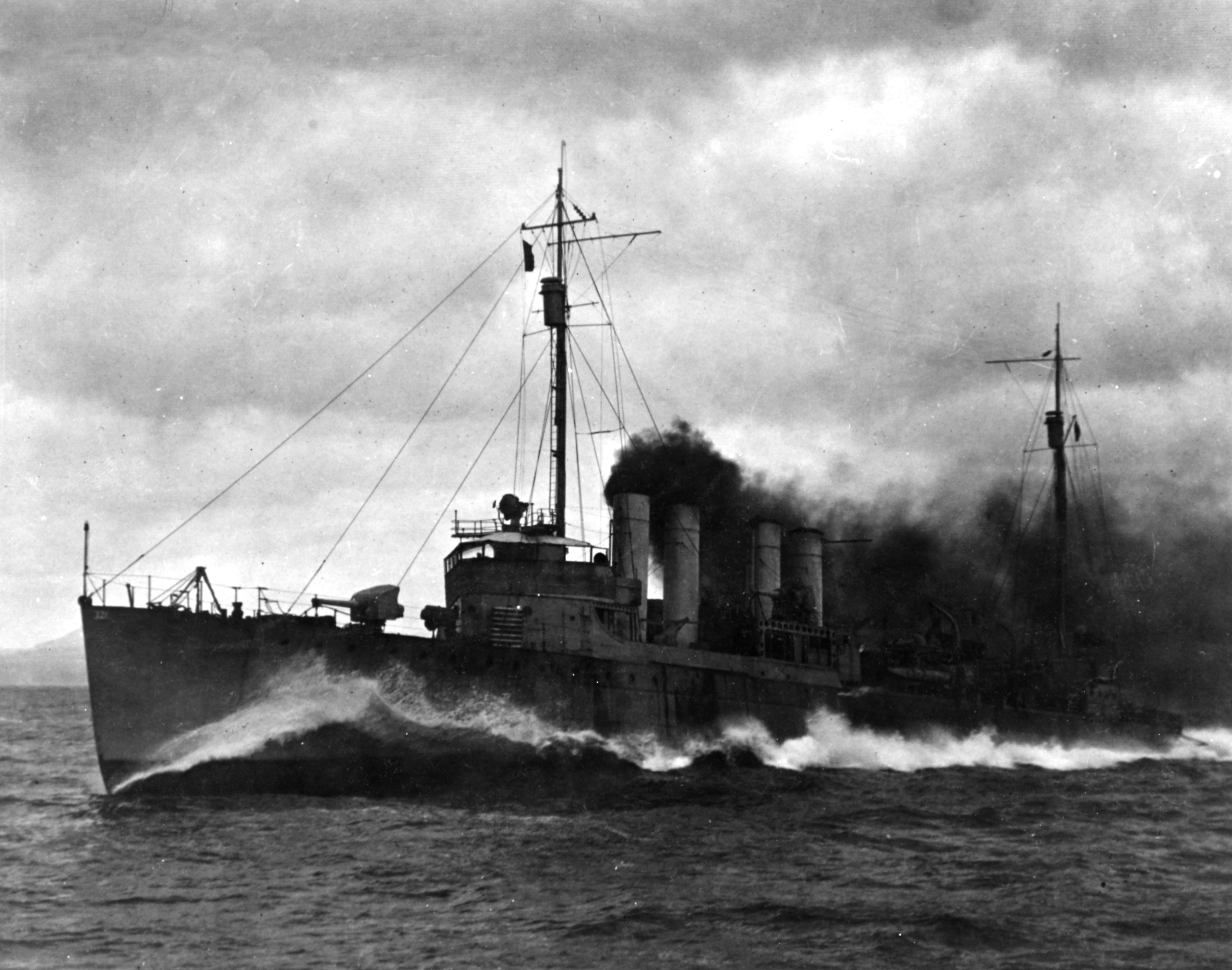 USS Palmer (DD-161) underway at high speed, circa in late 1918 (NH 1038).jpg