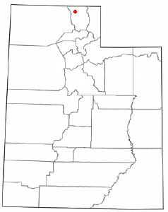 Location of Amalga, Utah