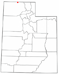 Location of Snowville, Utah