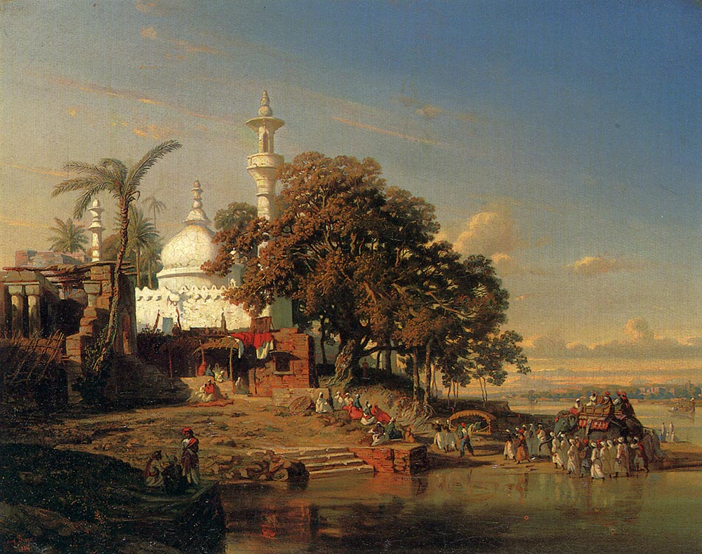 Hooghly India  city images : Borget's oil on canvas painting 'An Indian Mosque on the Hooghly ...