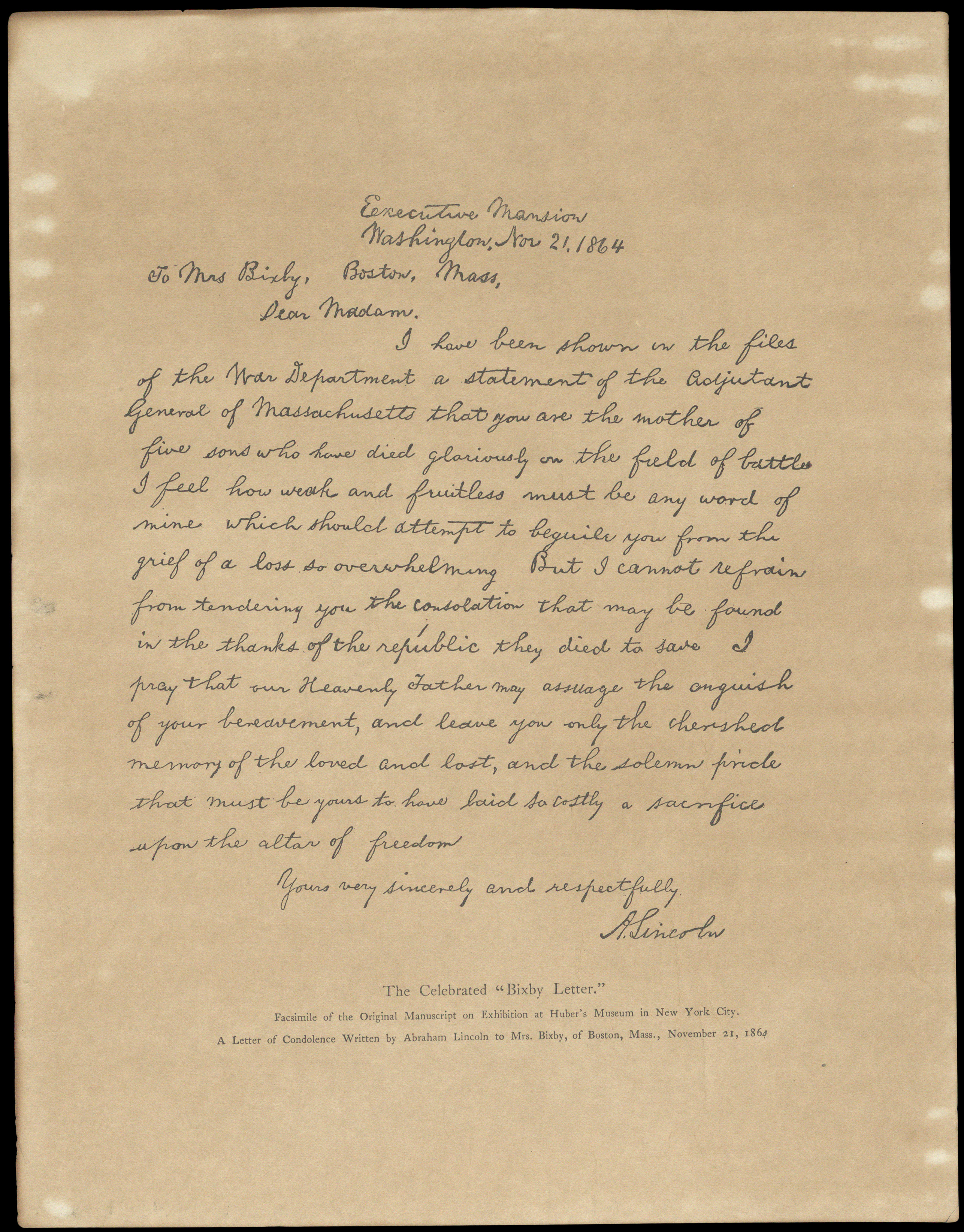 President Lincoln/'s letter to Mrs Bixby Fine Art Print Civil War Reproduction
