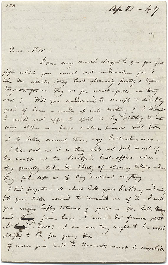 Letter written by Charlotte to her friend Ellen Nussey