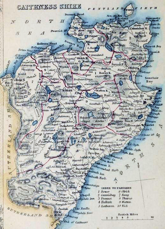 Dunbartonshire Parish Map Caithness Civil Parish Map c