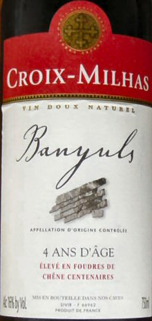 "Label of ""Croix-Milhas"", a Banyuls w..."