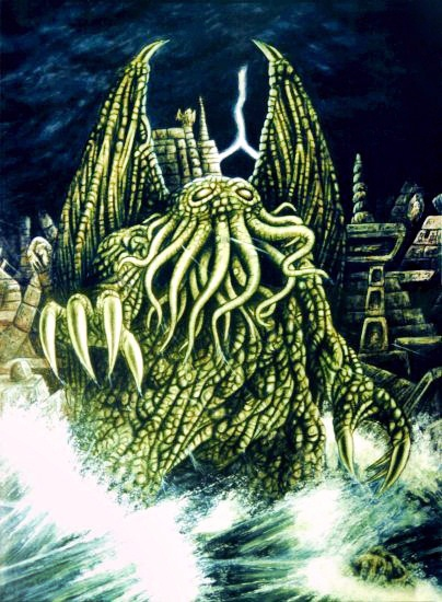 Remember all that calamari you spewed after $2 pitcher night at the pub?  Well Cthulu's coming to avenge his children.
