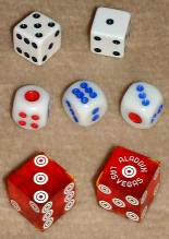 European-style, Asian-style, and casino dice.