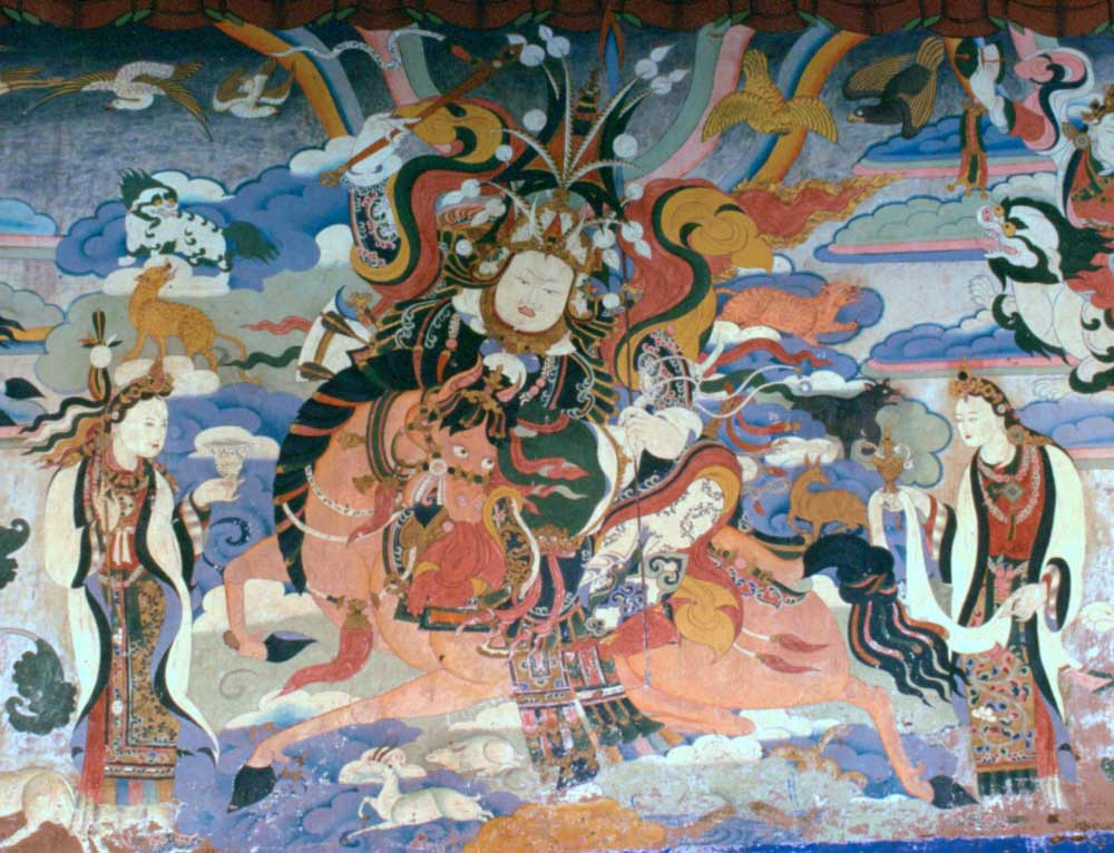 <p>Mural depicting King Gesar of Ling. Photo by Andreas Gruschke, under Creative Commons.</p>