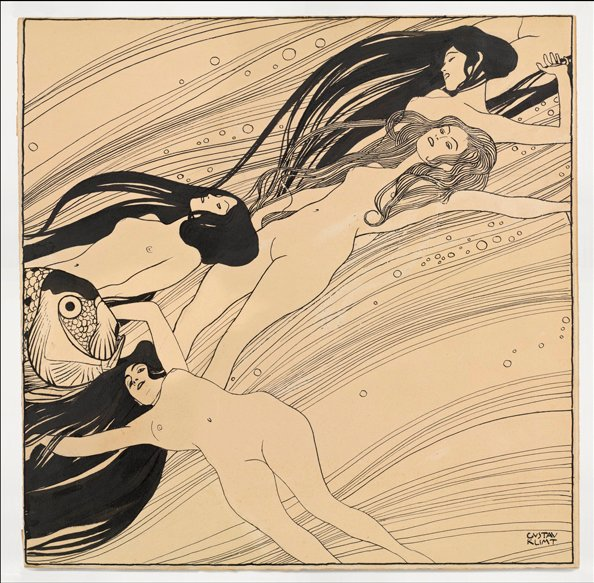 File:Gustav Klimt, Fishblood, 1898. India ink and pen on brown paper. 40 x 40.3 cm courtesy Galerie St. Etienne, New York..jpg