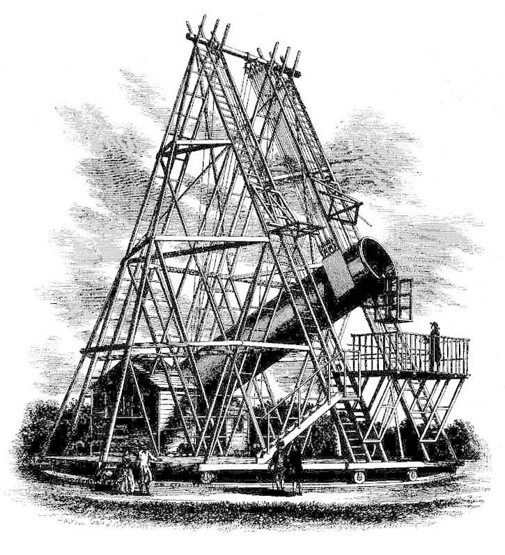 Gravure représentant le télescope de 40 pieds de focale d'Herschel - Herschel's 40-foot telescope, 1789 - Wikimedia Commons