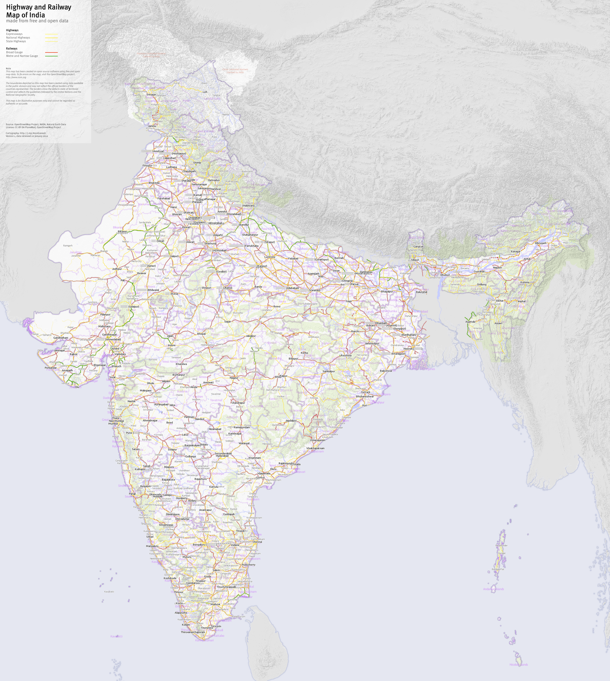 File:Highway and Railway Map of India OSM png - Wikimedia