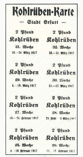 Kohlrübenkarte, Erfurt 1917