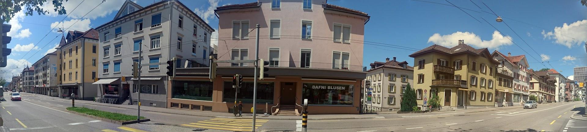 Panorama der nördlichen Häuserzeile im Lachen-Quartier, St. Gallen