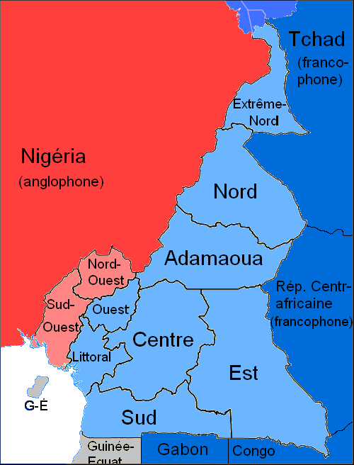 Languages of cameroon wikiwand map of cameroons official languages blue french speaking regions and countries red gumiabroncs Choice Image