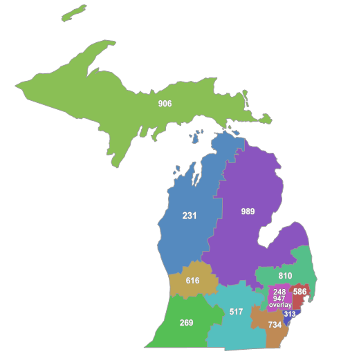 Michigan Area Codes By Drdpw (Own work) [CC BY-SA 3.0 (http://creativecommons.org/licenses/by-sa/3.0)], via Wikimedia Commons