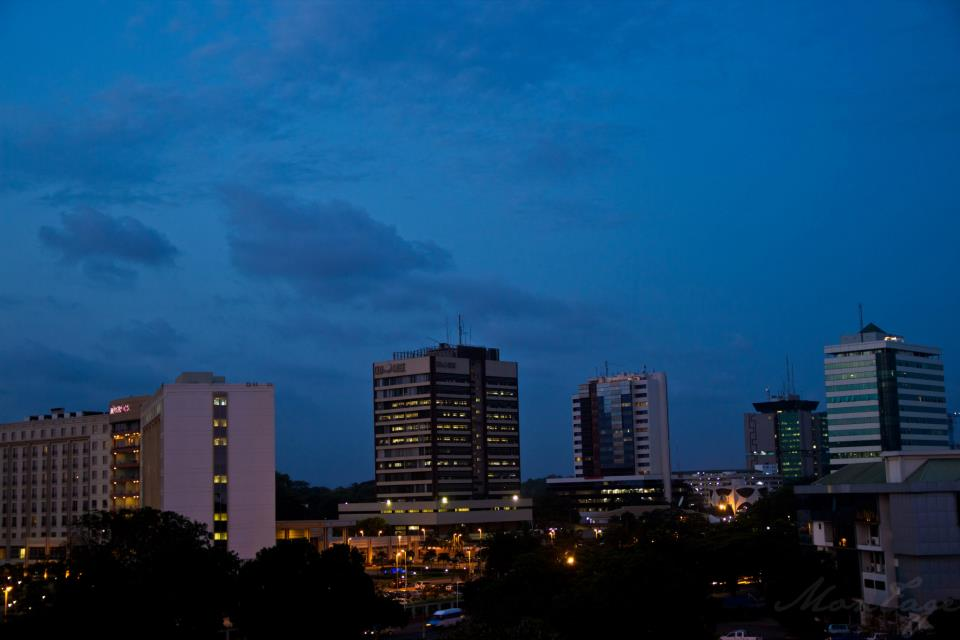 Accra Central Business District at night