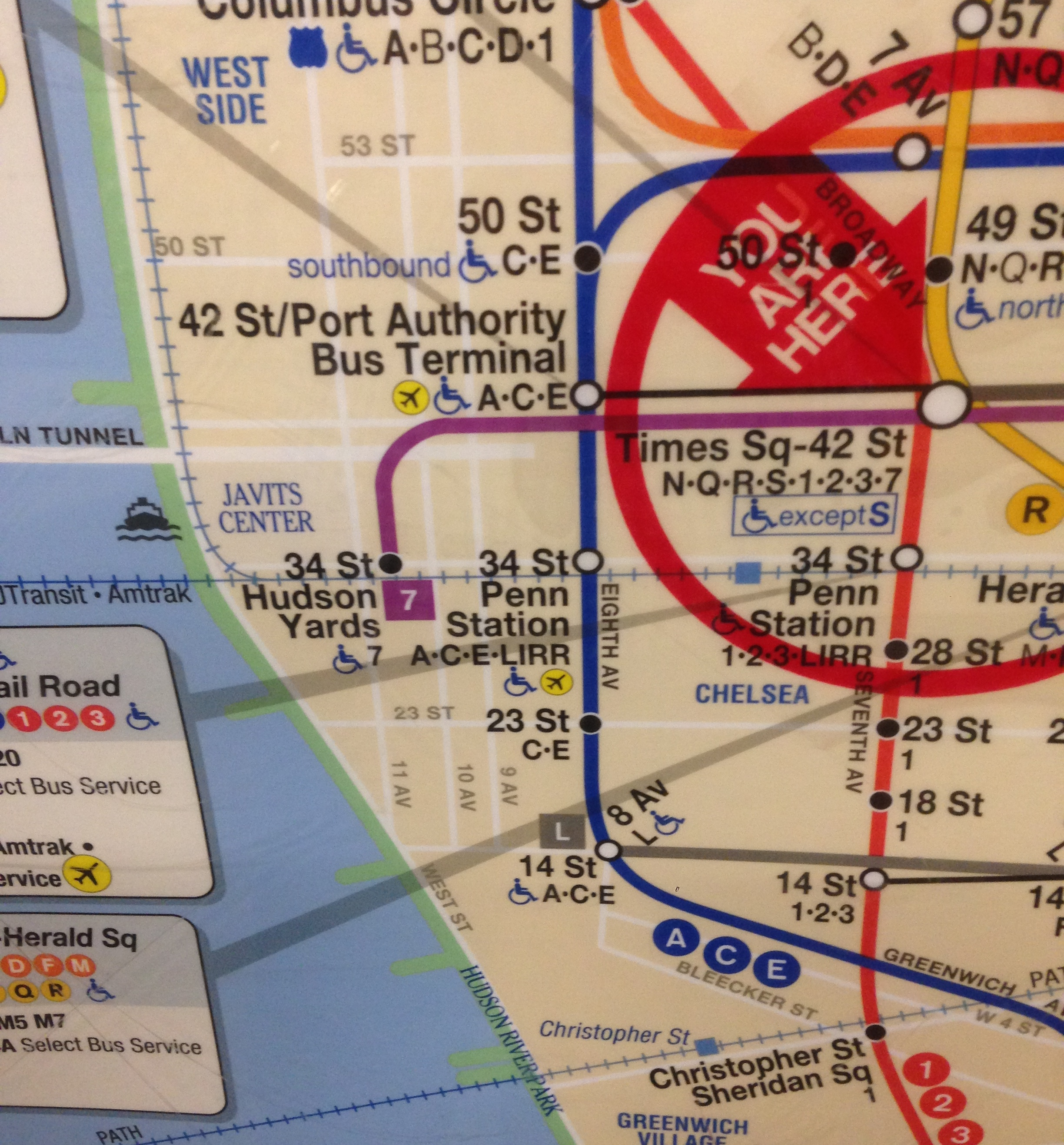 Large Ny Subway Map.File Nyc Subway Map At Times Square Showing Hudson Yards Jpg