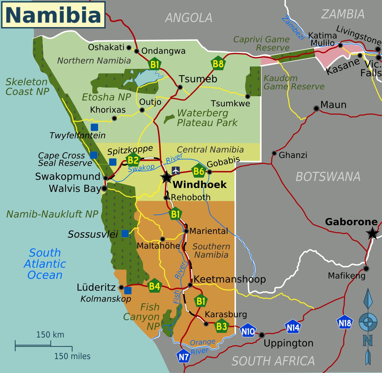 Desierto De Kalahari Mapa.Geografia De Namibia Wikipedia La Enciclopedia Libre