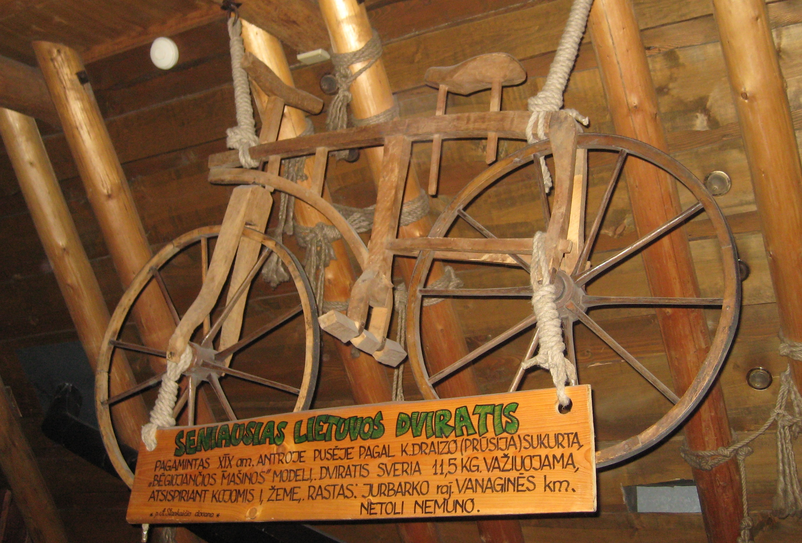 File Old Wooden Bicycle In Lithuania Jpg Wikimedia Commons