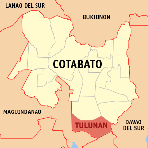 Map of Cotabato showing the location of Tulunan