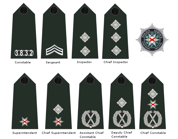 British Police Rank Insignia http://en.wikipedia.org/wiki/Police_Service_of_Northern_Ireland