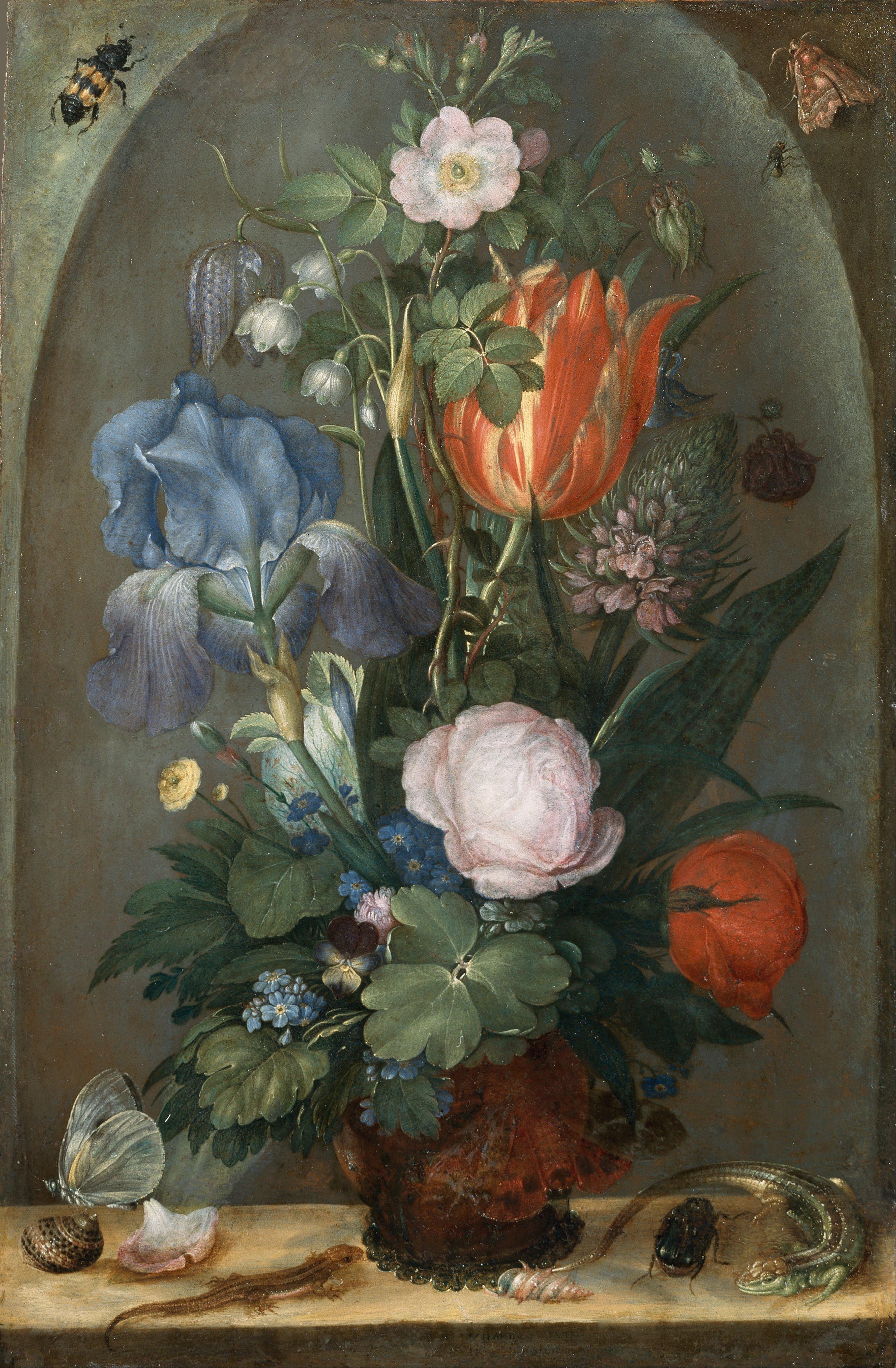 File roelant saverij flower still life with two lizards for Bouquet de fleurs wiki