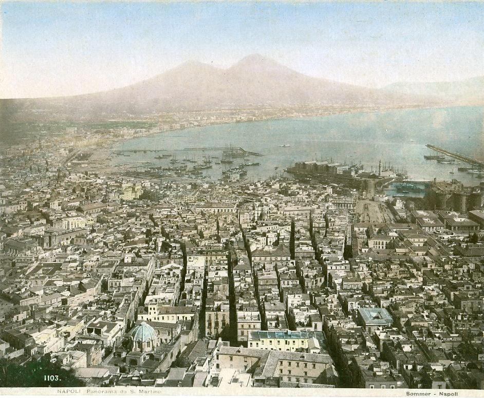 > Panorama depuis la chartreuse San Martino à Naples. Photo de Giorgio Sommer.