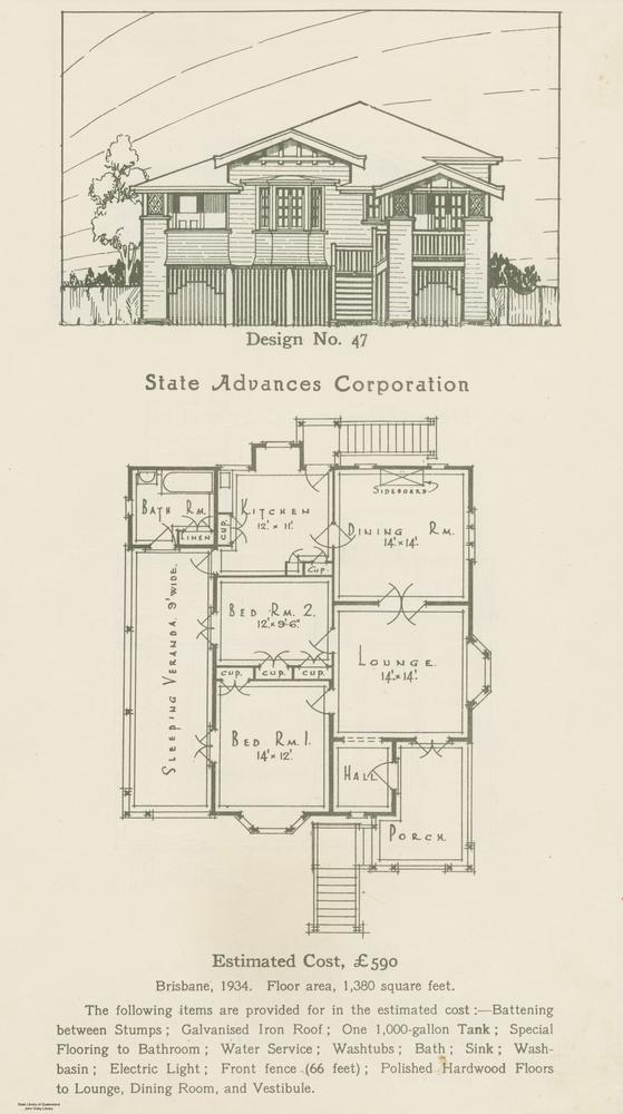 File statelibqld 2 228950 drawing and floor plan of house for Two story house drawing
