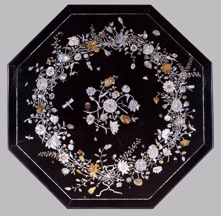 Scagliola Table Top With Black Background And Colorful Flowers Decoration