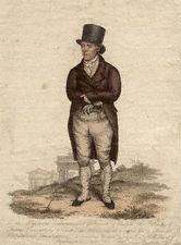 A full-length sepia portrait of a man standing and dressed in top hat and breeches