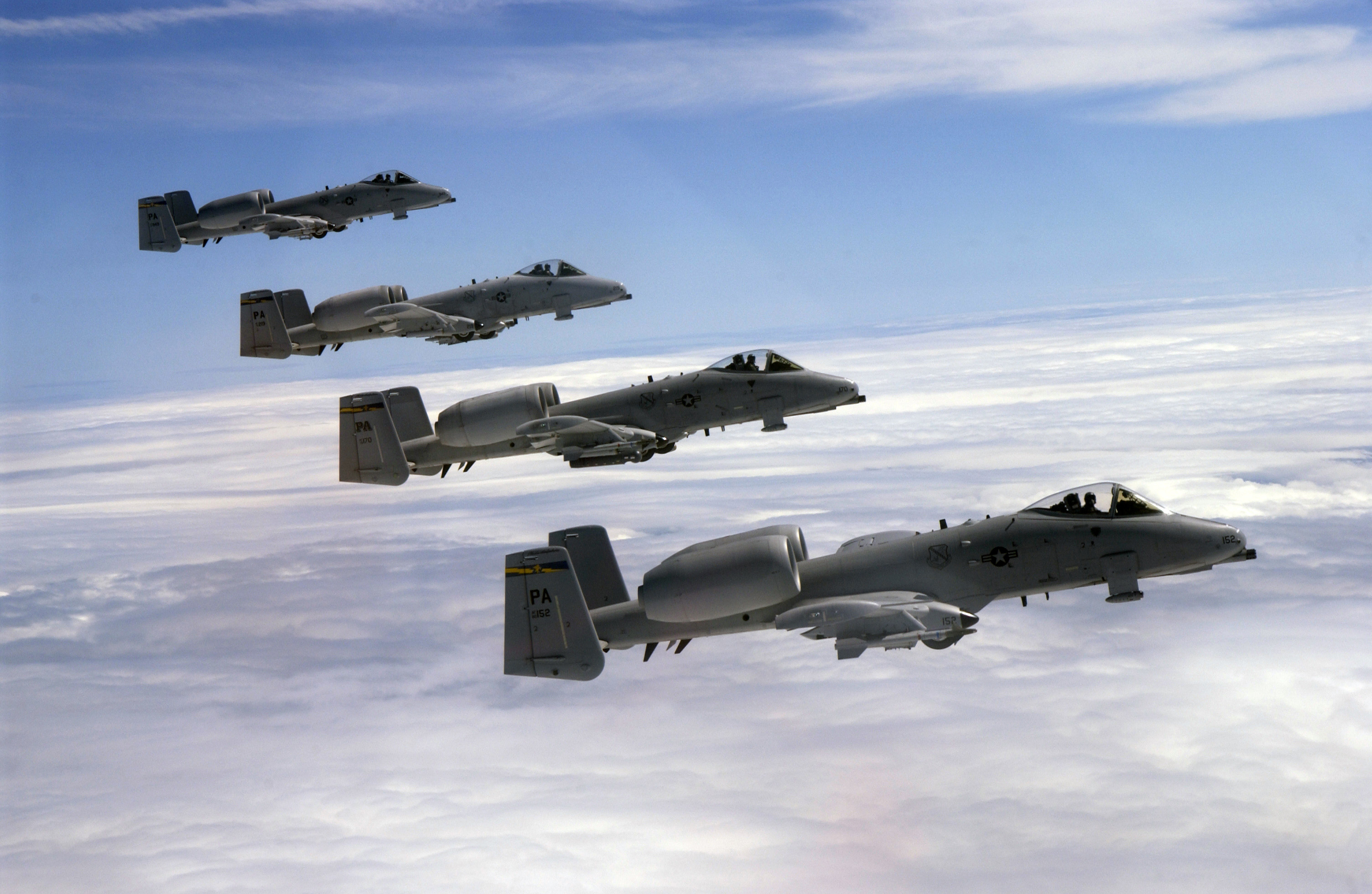 Four A 10s Of The 111th Fighter Wing Pennsylvania Air National Guard Fly In Formation During Refueling Mission
