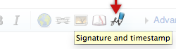 "Click the ""Signature and timestamp""-button to sign your talkpage contributions"