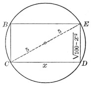 Rectangle inscribed in a circle.